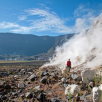 steam fumarole at the ground of Tambora, at 1.450m