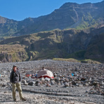 campsite on the crater ground, at 1.450m, below the western wall, Tambora