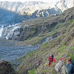 ropes are safer to climb steep parts, Tambora