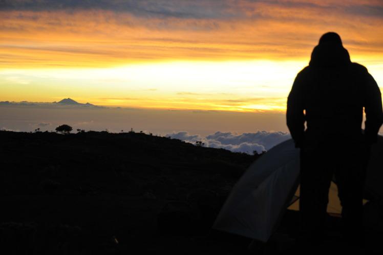 sunrise at the crater rim, with Rinjani in the west, Tambora