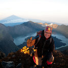 at the peak of Rinjani at sunrise