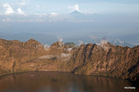 view over the crater lake to Agung on Bali, Mount Rinjani photo