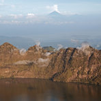 view over the crater lake to Agung on Bali, Mount Rinjani
