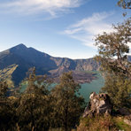 panorama view of Rinjani, from the western rim, Mount Rinjani