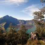 panorama view of Rinjani, from the western rim, Mount Rinjani