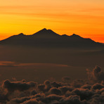 Rinjani at a distance of 106 km to the east,  before sunrise, Mount Agung