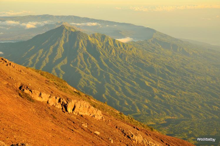 the Batur caldera, west of Agung, Mount Agung